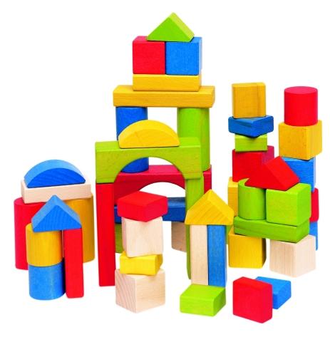 Cuburi lemn color si natur 50 pcs.