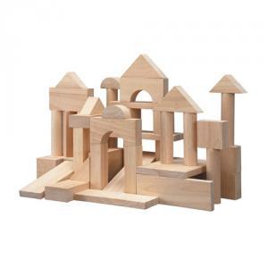 Cuburi lemn natur, 50 pcs.