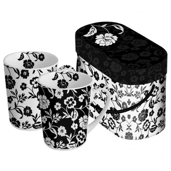 Cutie cani cadou flori alb-negru