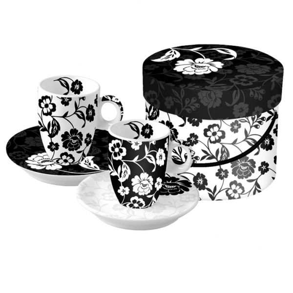 Cutie cesti expresso flori alb-negru