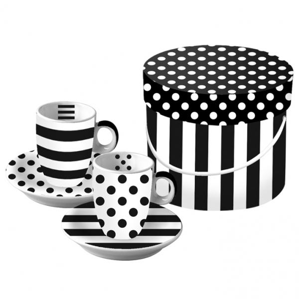 Cutie cesti expresso mix alb-negru