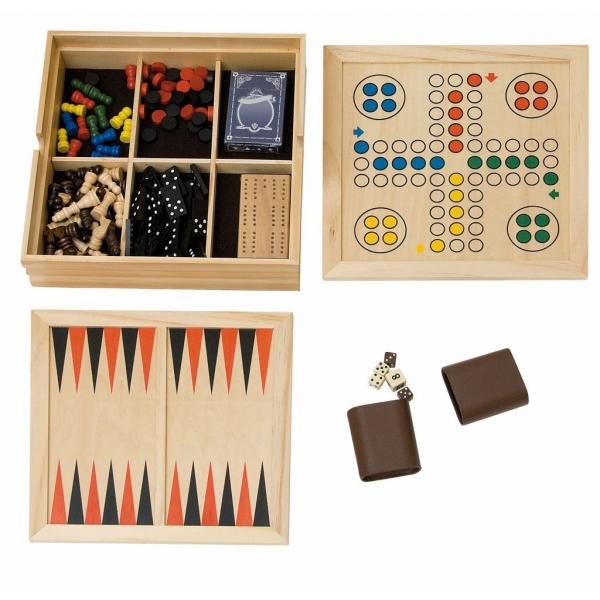 Cutie lemn jocuri 8 in 1