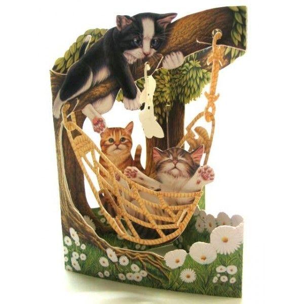 Felicitare 3D Cats in Hammock