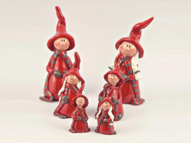 Figurina de ceramica rosie 9cm