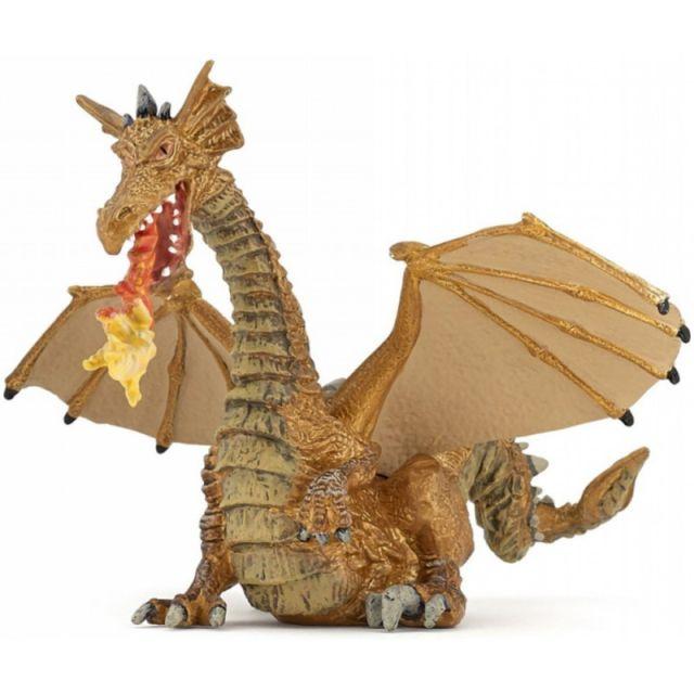 Figurina Papo,dragon cu flacara,auriu