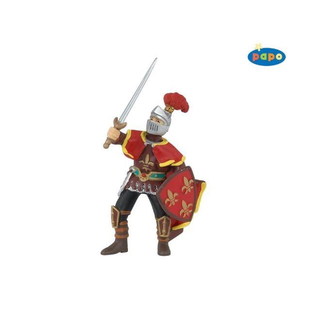 Figurina Papo,ofiter Paladin cu pene,rosu