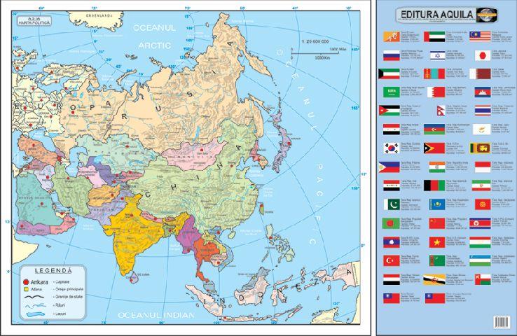 Harta Asia,fizica/administrativa,50x70cm