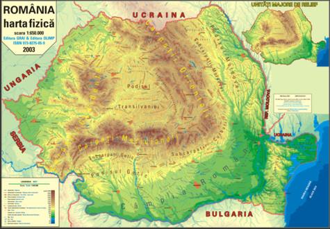 Harta Romania,fizica,70/100cm