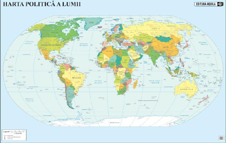Harta lumii fizica/administrativa,50/70cm