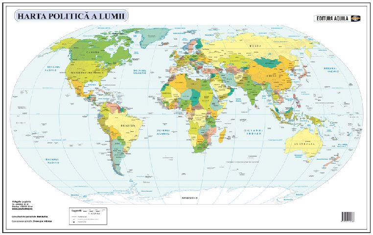Harta lumii fizica/administrativa,70/100cm