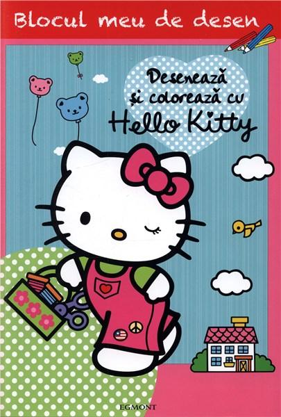 HELLO KITTY - DESENEAZA SI COLOREAZA CU HELLO KITTY BLOCUL MEU DE DESEN