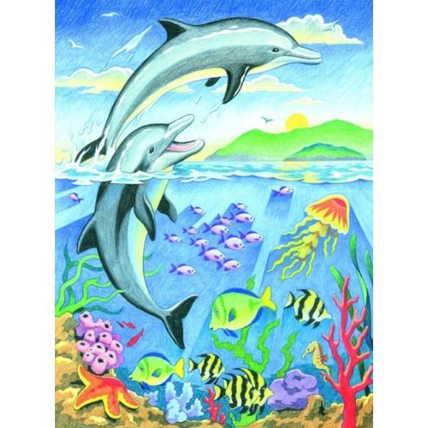 Joc de colorat pe numere Delfini