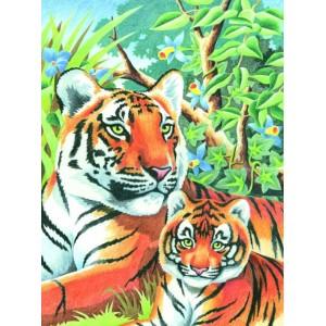 Joc de colorat pe numere Tigri
