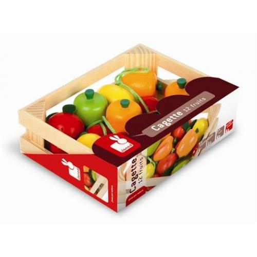 Lada cu fructe,lemn,12pcs,Janod