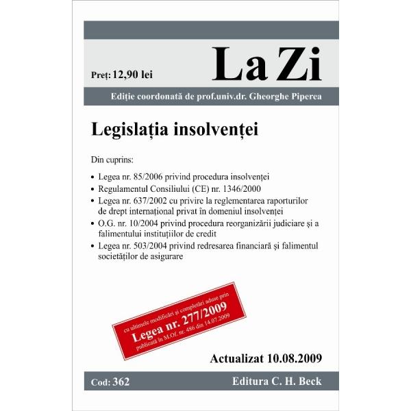 LEGISLATIA INSOLVENTEI ( COD 362) ACTUALIZATA