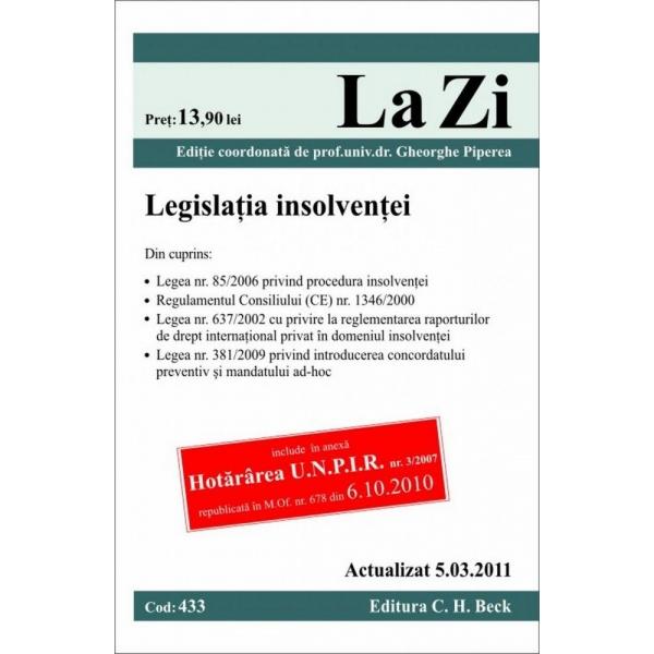 LEGISLATIA INSOLVENTEI ( COD 433) ACTUALIZATA