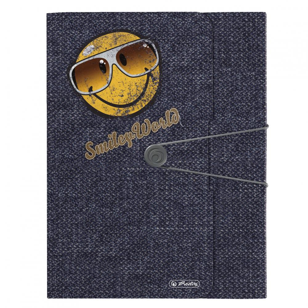 Mapa PP,A4,4mm,cu elastic,Smiley Jeans