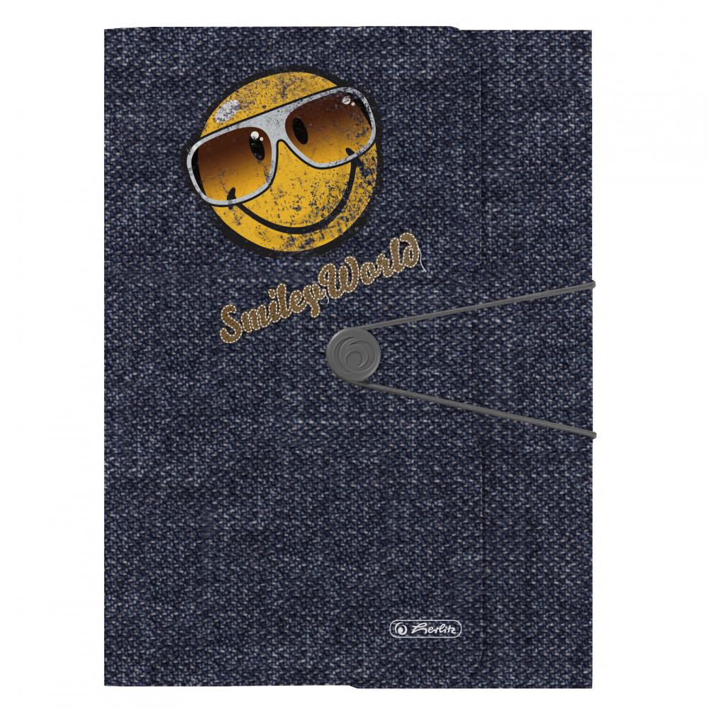 Mapa PP,A4,cu elastic,Smiley Jeans