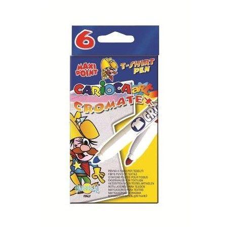 Markere pentru copii Carioca Art Cromatex pt tricouri, 6buc/set