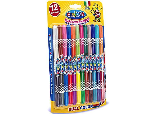 Markere pt copii,12b/s,CariocaBi-color
