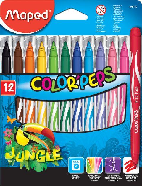Markere pt copii,12b/set,Maped Jungle