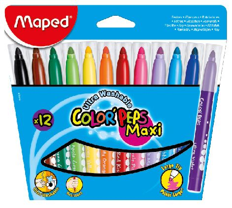 Markere pt copii,12b/set,Maped Maxi