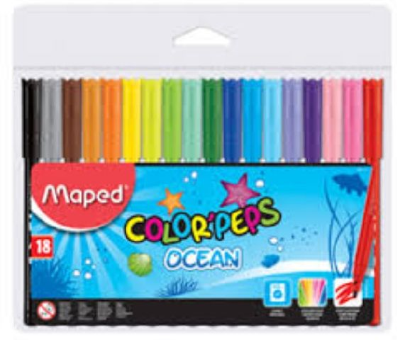 Markere pt copii,18b/set,Maped Ocean