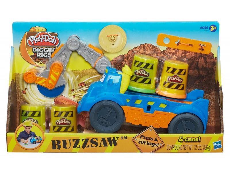 Masina taiat lemne+4cutii plastilina,Play-Doh