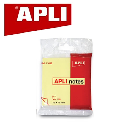 Notite adezive Apli,75x75mm,100f,galben,polybag