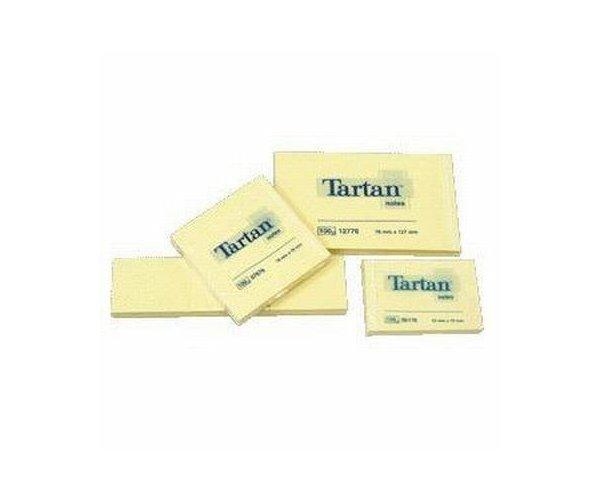 Notite adezive Tartan galben,76x76mm,100 file