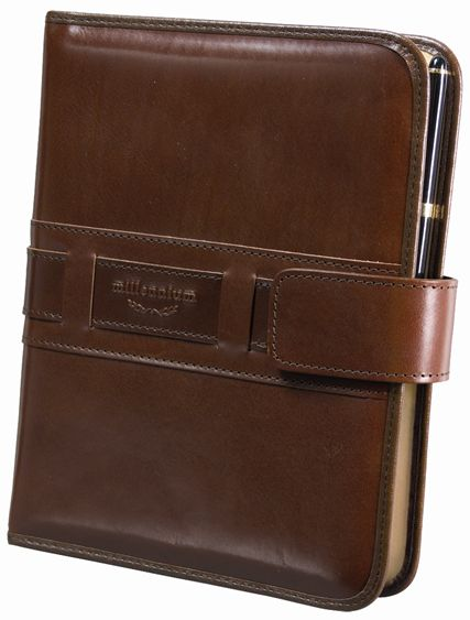 zzOrganizator 19x24cm,Millenium,din piele,cu buzunar interior si pix,maro inchis