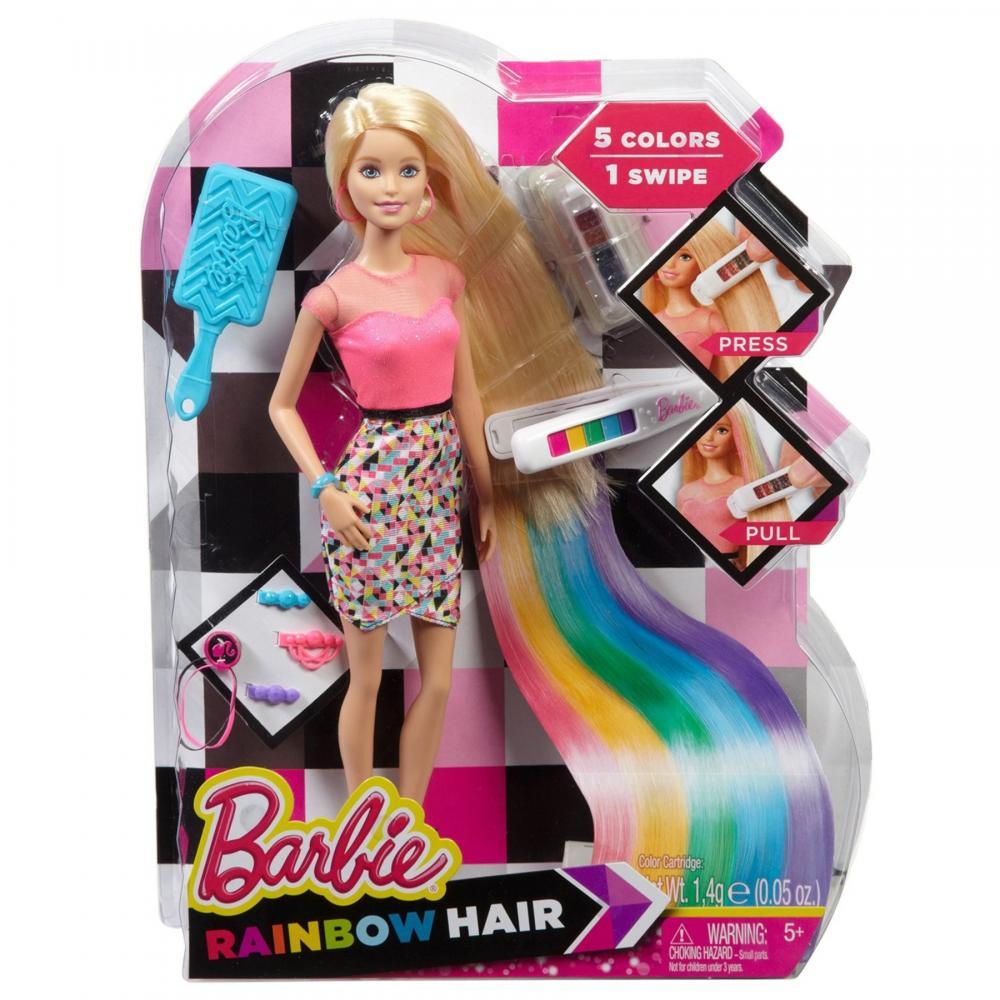 Papusa Barbie,accesorii aranjare par,curcubeu