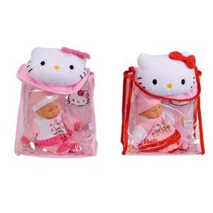 Papusa bebe in rucsac Hello Kitty