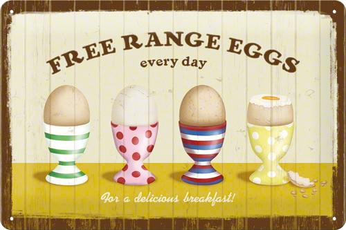 PLACA 20X30 FREE RANGE EGGS