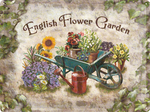 PLACA 30X40 ENGLISH FLOWER GARDEN