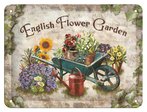 Placa 15x20 English Flower Garden