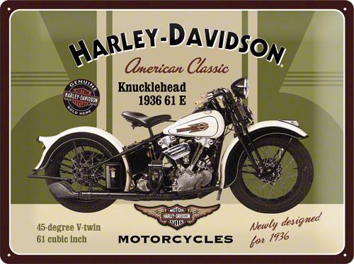 PLACA 30X40 HARLEY-DAVIDSON KNUCKLEHEAD