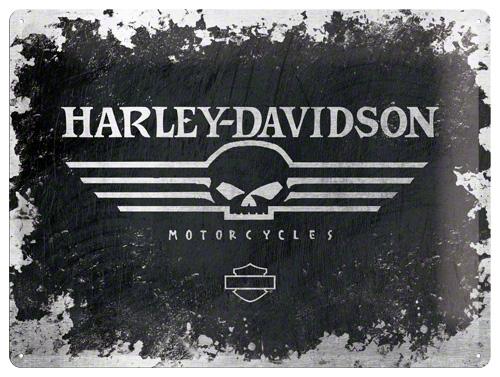 PLACA 30x40 HARLEY-DAVIDSON SKULL LOGO