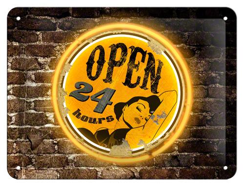 Placa 15x20 Open 24 Hours