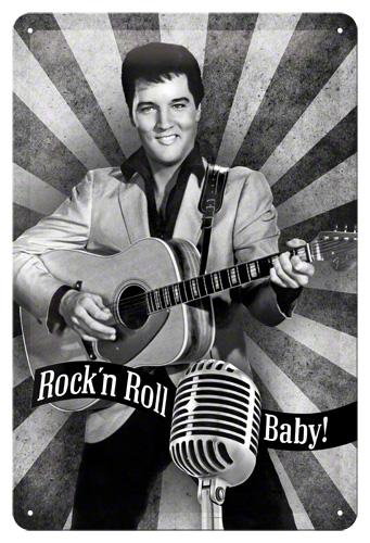 PLACA 20x30 ELVIS ROCK'N ROLL BABY