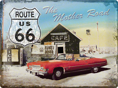 PLACA 30X40 ROUTE 66 THE MOTHER ROAD