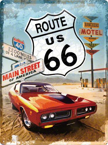 PLACA 30X40 US HIGHWAYS RED CAR
