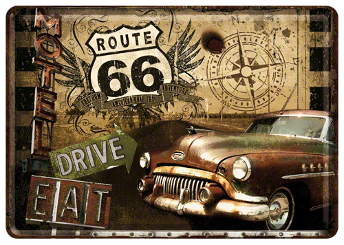 Placa 15x20 Route 66 Road Trip