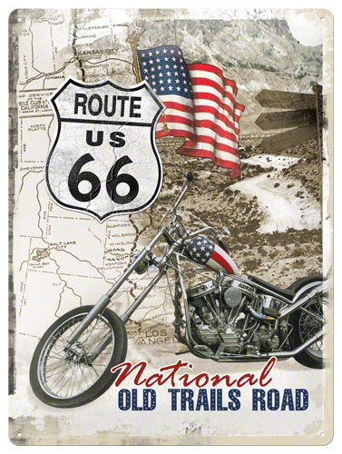 PLACA 30X40 ROUTE 66 OLD TRAILS ROAD