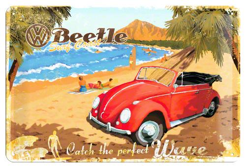 Placa 20x30 VWBeetle Ready for the Beach