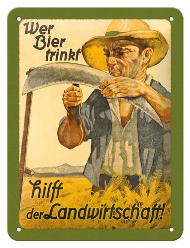 Placa15x20 Wer Biertrinkt Landwirtschaft
