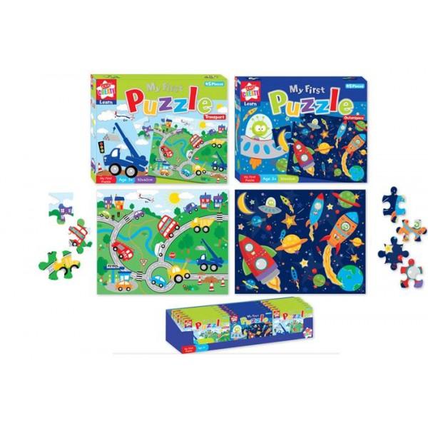 Primul meu puzzle, pt. baieti, 45 pcs, diverse modele