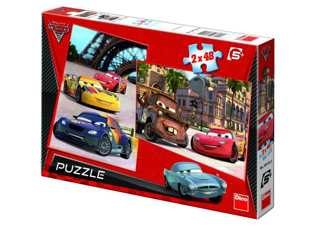 Puzzle 2 in 1 Cars 2 - In Europa, 2 x 48 pcs.