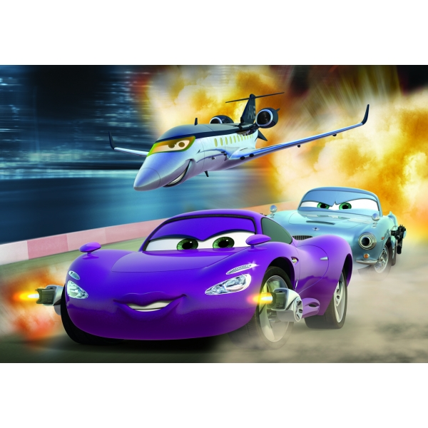 Puzzle 2 in 1 Cars 2 - In pericol, 2 x 48 pcs.