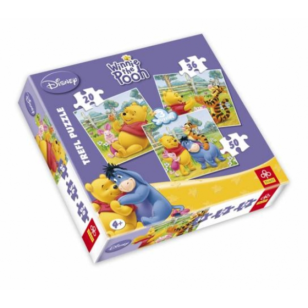 Puzzle 3 in 1 Winnie the Pooh, 20-36-50 pcs.